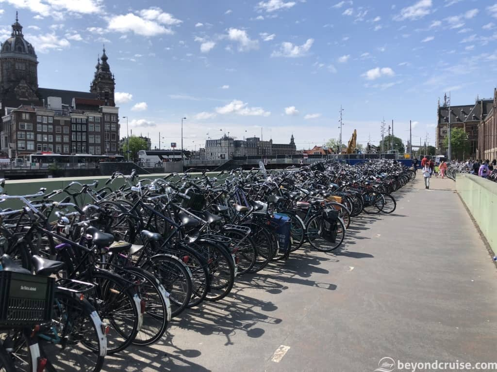 Amsterdam bikes near train station