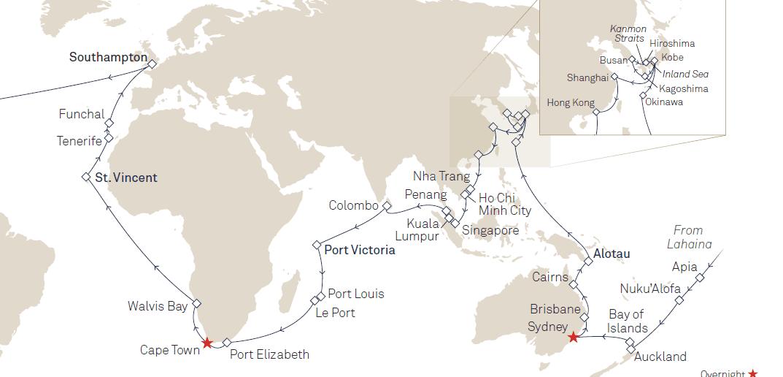 Cunard World Voyage 2017 - Queen Elizabeth