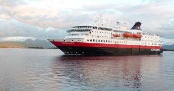 Hurtigruten's MS Nordkapp in Bergen's outer harbour