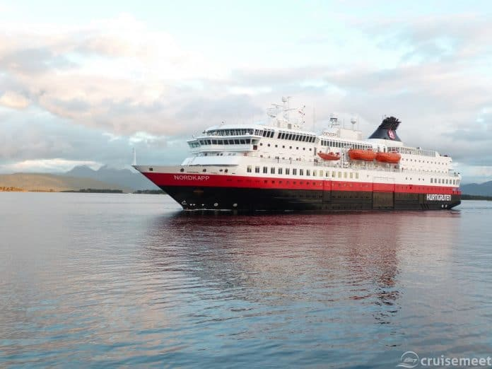 Hurtigruten's MS Nordkapp in Bergen's outer harbour