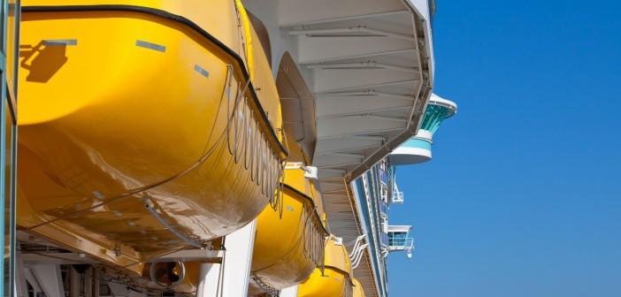 Lifeboats on a Royal Caribbean ship