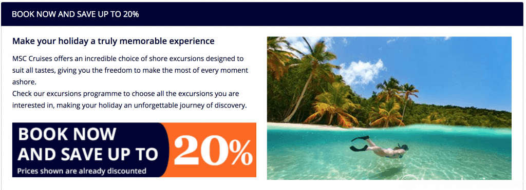 Example discounts for pre-booking your shore excursions