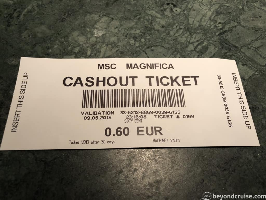 MSC Magnifica Atlantic City casino winnings