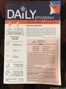 MSC Magnifica Daily Program for 30th April 2018