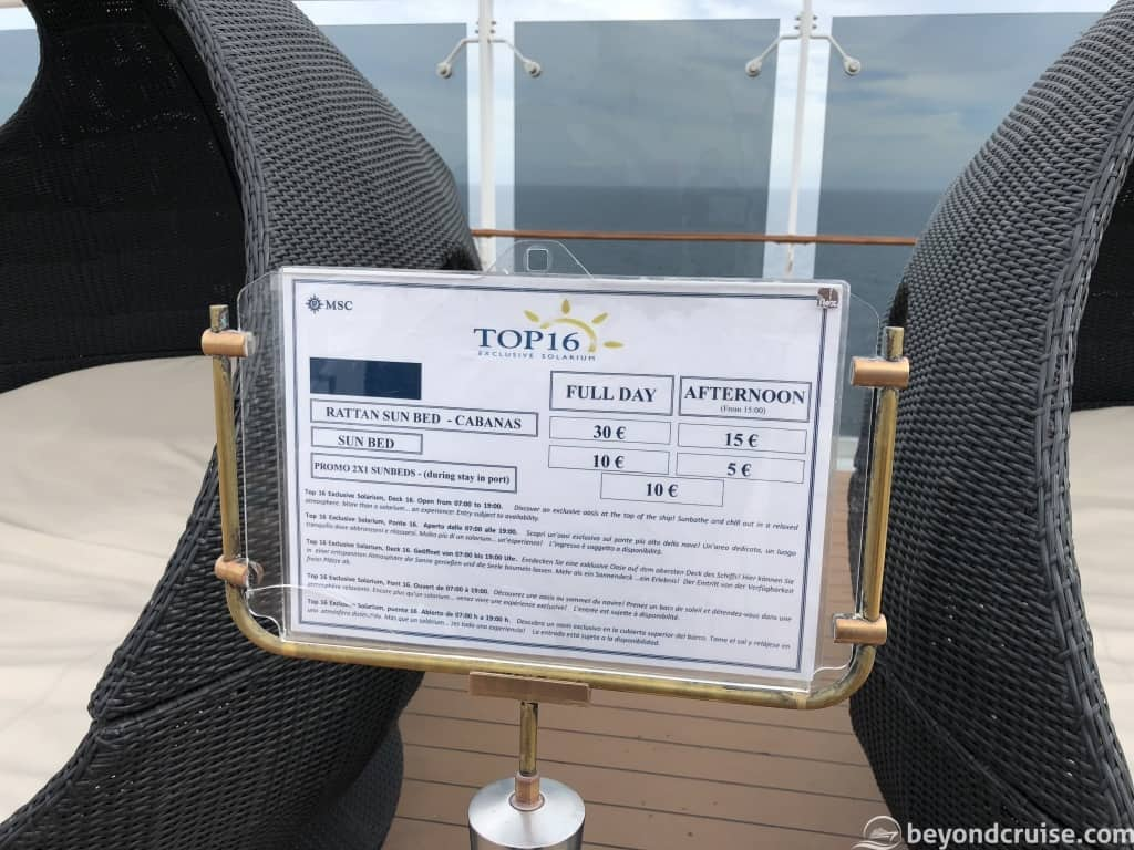 MSC Magnifica Top 16 Exclusive Solarium Deck price list
