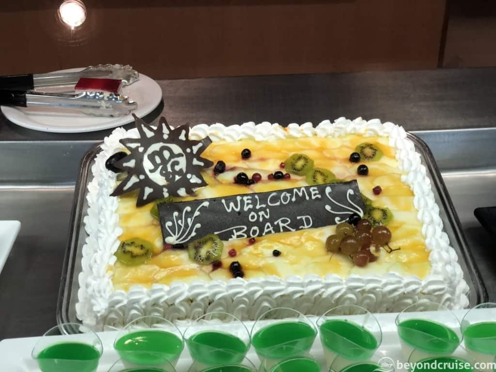 MSC Magnifica Welcome Onboard cake in Sahara buffet