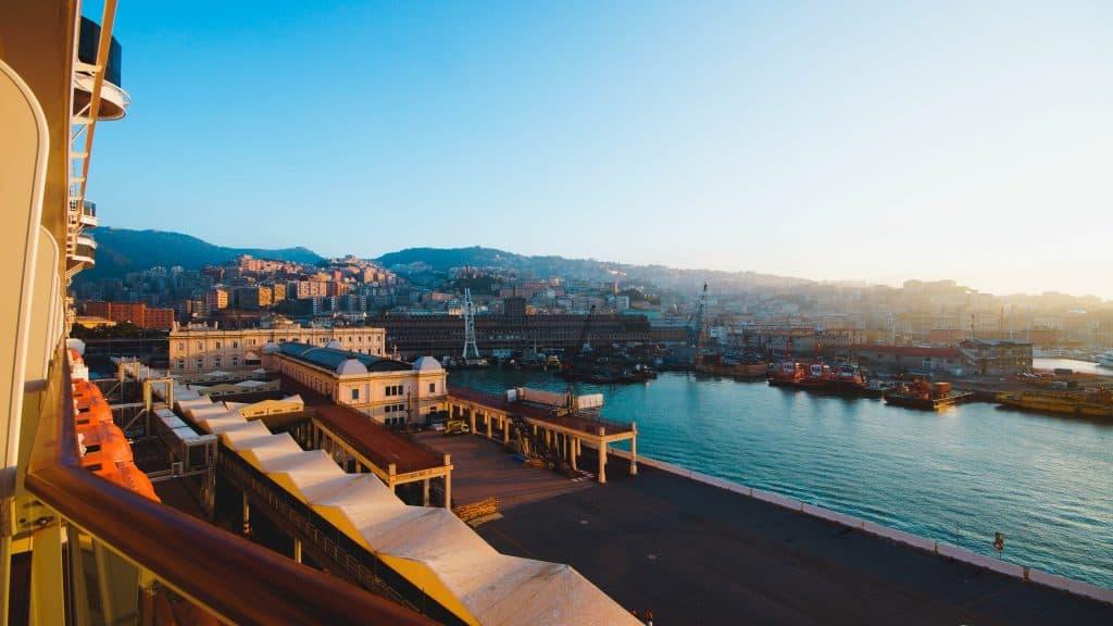 MSC Meraviglia - Sunrise from the balcony in Genoa