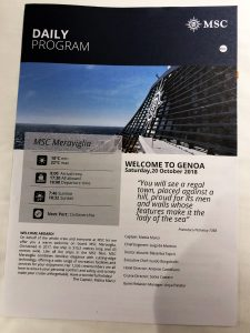MSC Meraviglia – Genoa Daily Program cover
