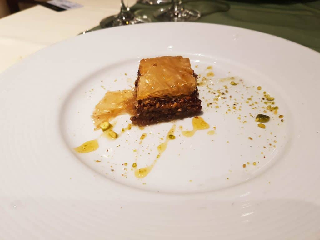 Main Dining Room Dinner – Baklava Dessert