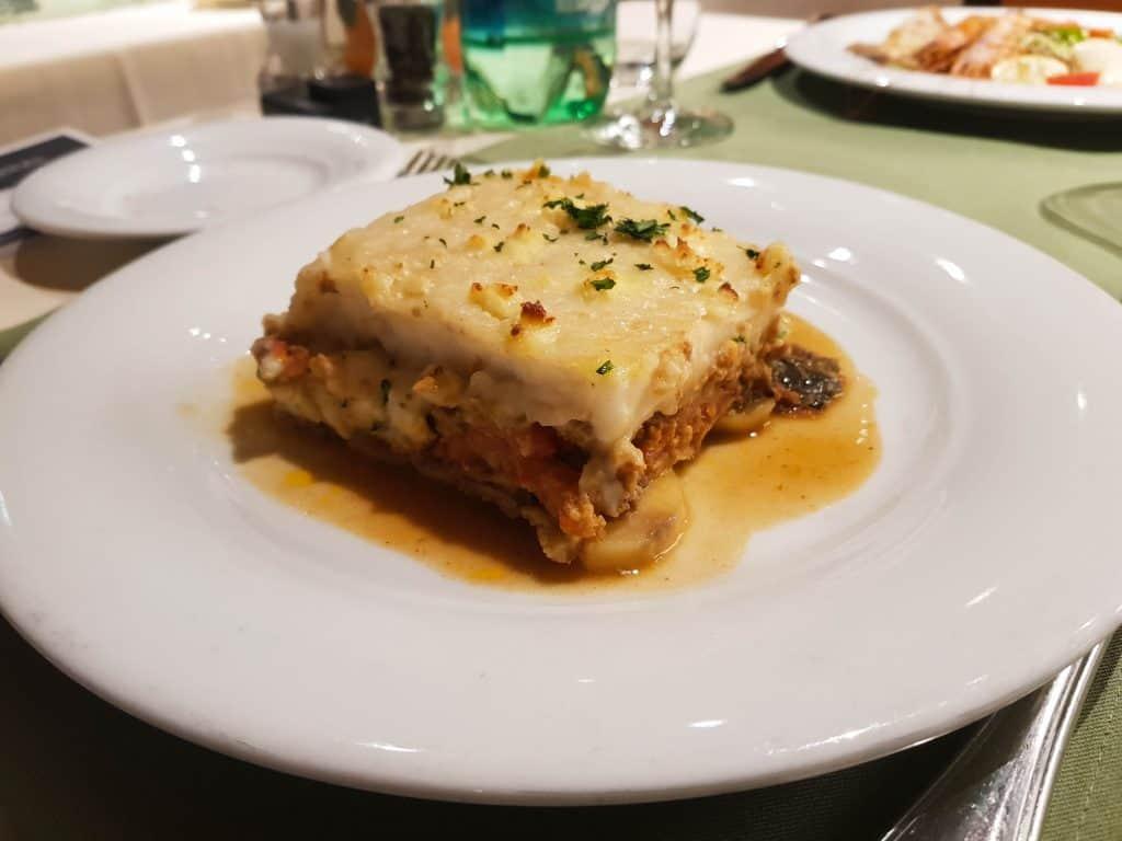 Main Dining Room Dinner – Aubergine Moussaka Main