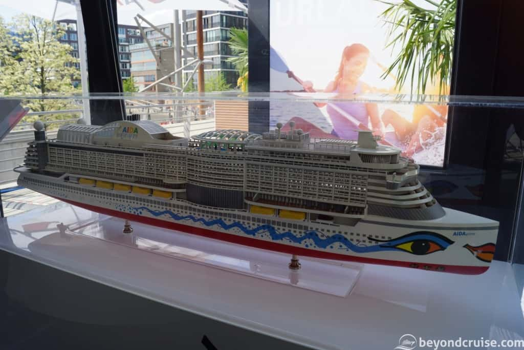 AIDAprima ship model in AIDAcruises popup stand