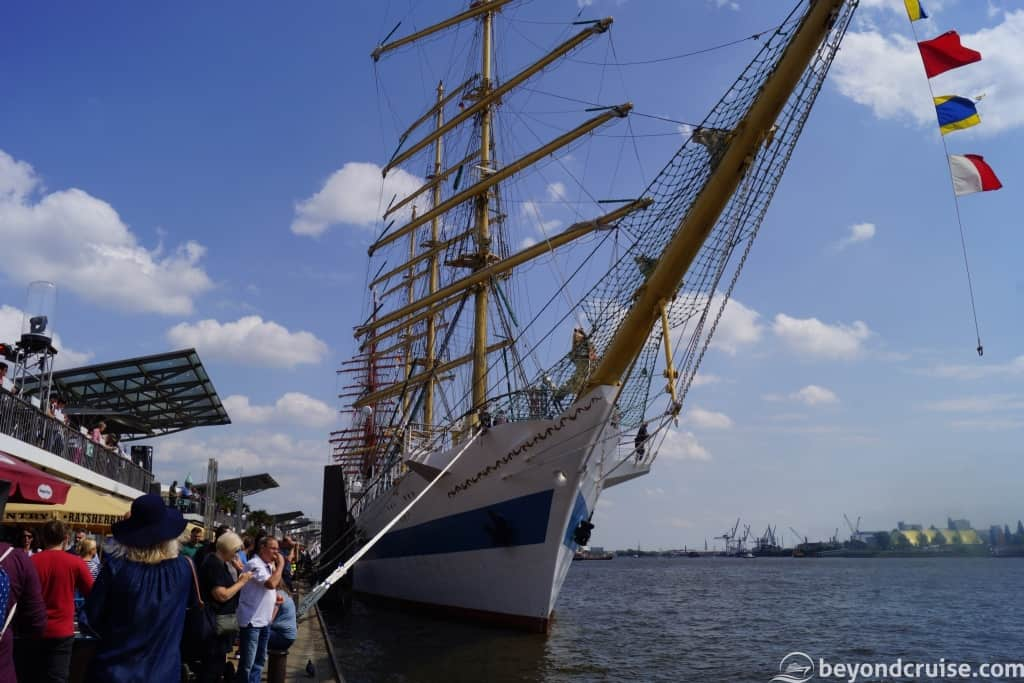 Tall ship at Port of Hamburg 829th Anniversary