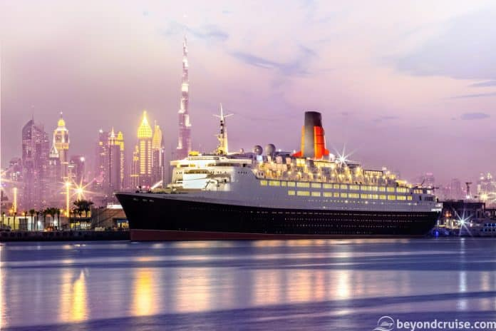 The QE2 alongside in Dubai