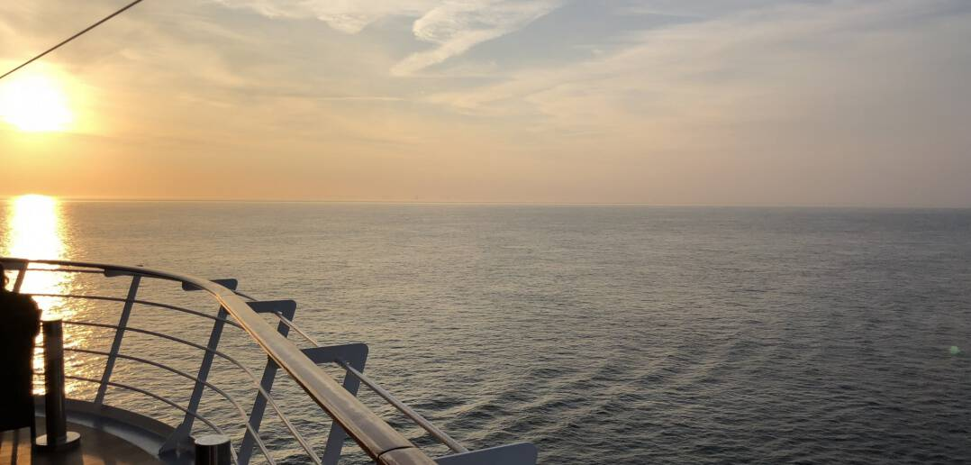 Sunset onboard MSC Magnifica in the English Channel